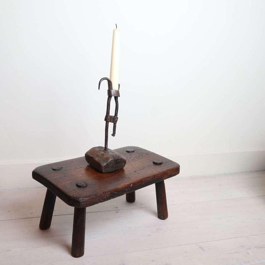 Swedish 18th Century wrought iron stump-stake candlestick.