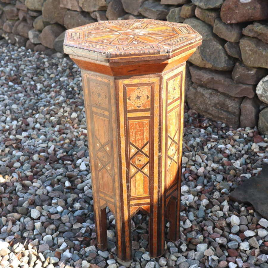 Octagonal occasional table, geometric inlay & MoP c.1890-1914.