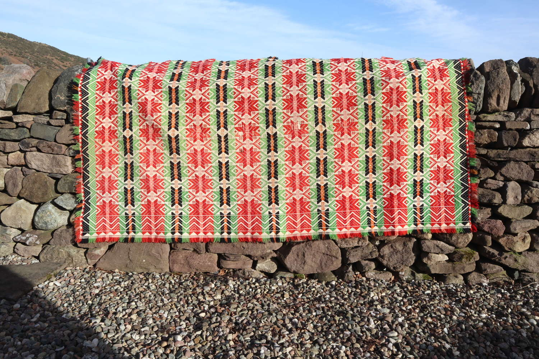 Swedish 'Folk Art' large geometric pattern woven coverlet c.1860