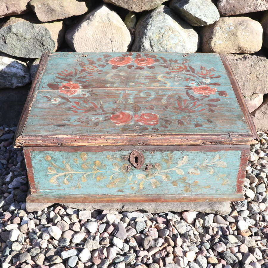 Swedish 'Folk Art' original paint rosmålning  writing slope 1797
