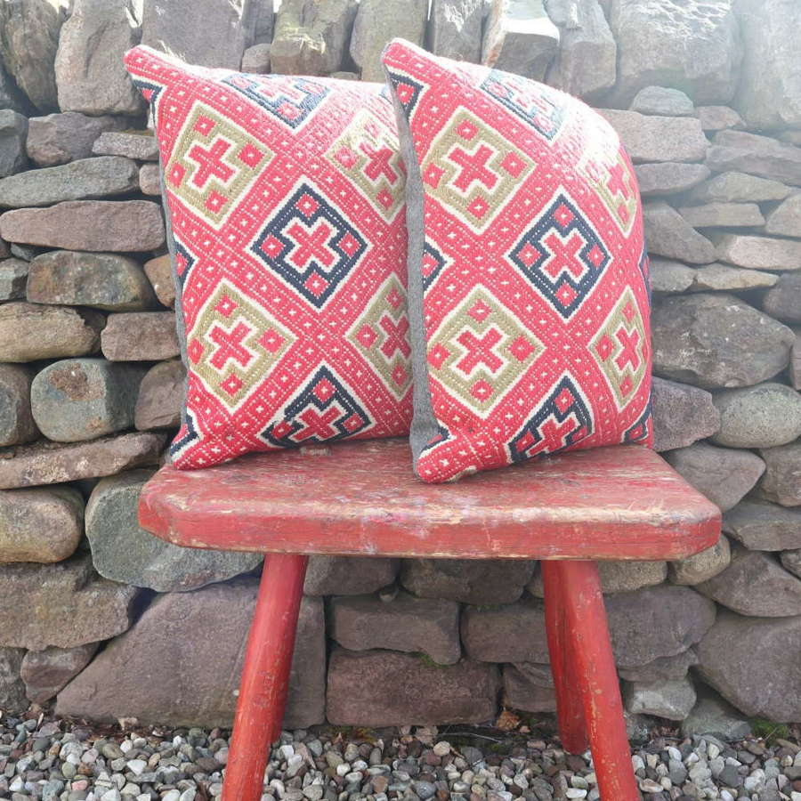 Early 20th Century, Swedish textile, geometric, re-stuffed cushions
