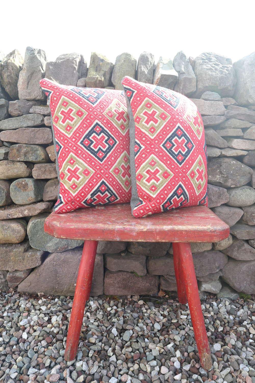 Early 20th Century, Swedish textile, geometric, re-stuffed cushions