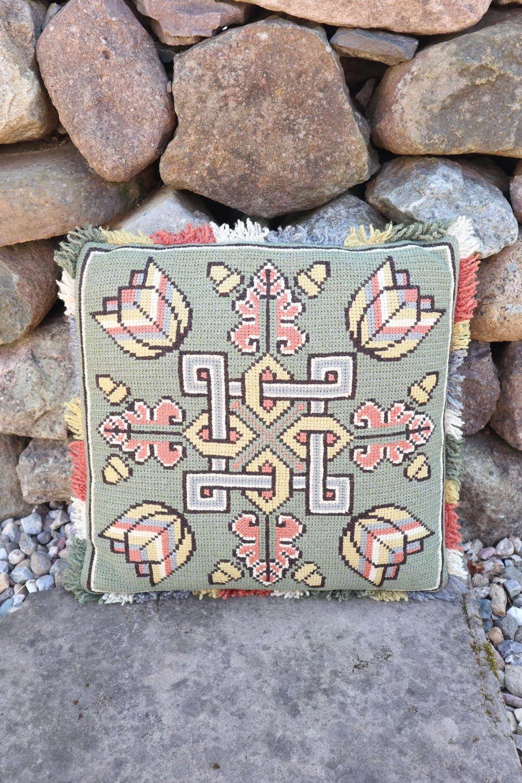 Swedish 'Folk Art' green geometric design cushion Skåne region c.1930