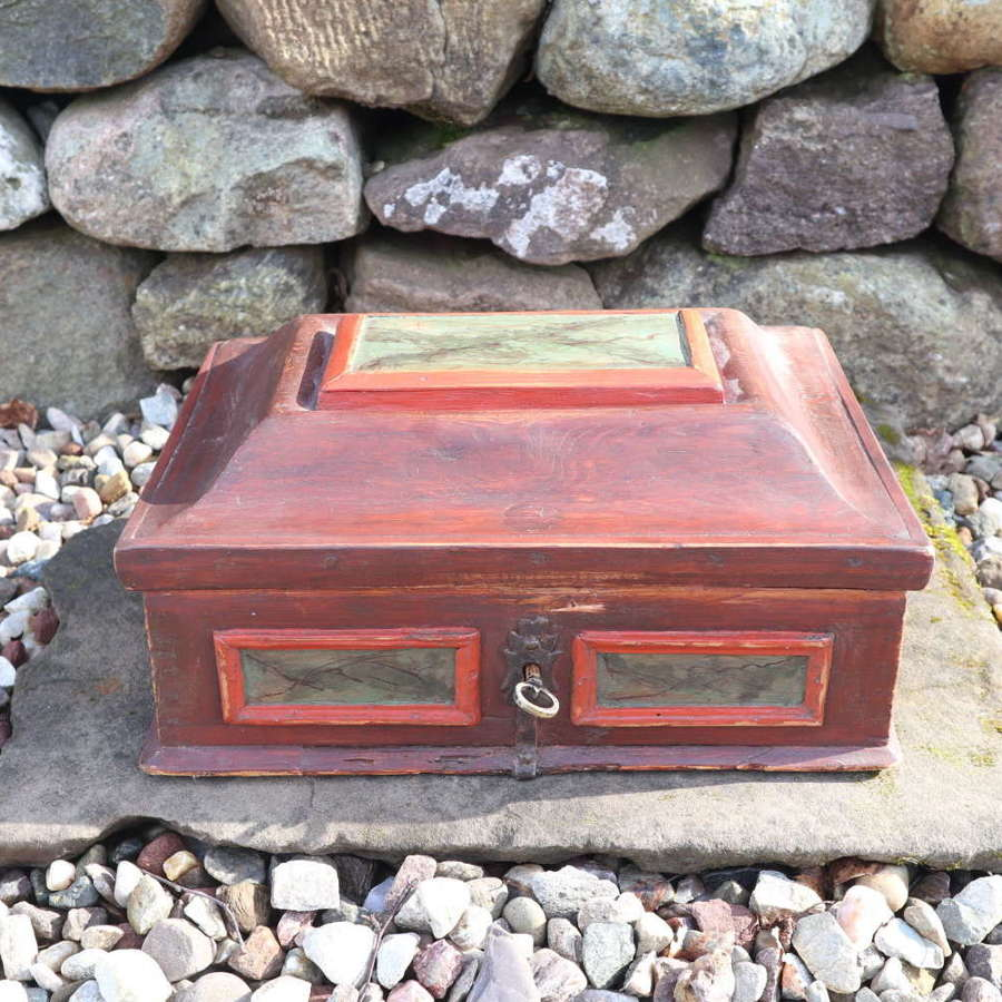 Early 18th Century Swedish Baroque Painted Bridal Casket Box 1719