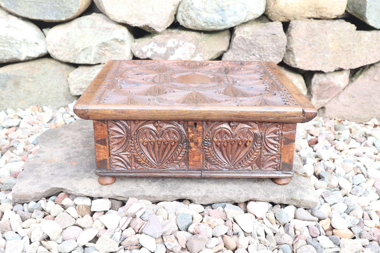 17th Century Swedish carved oak table box, Västergötland c.1675