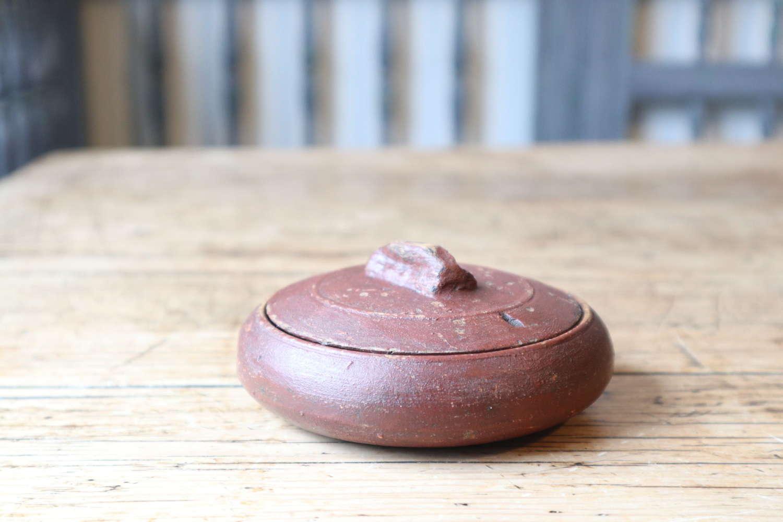 Swedish 'Folk Art' red paint small lock-lid bowl 19th Century