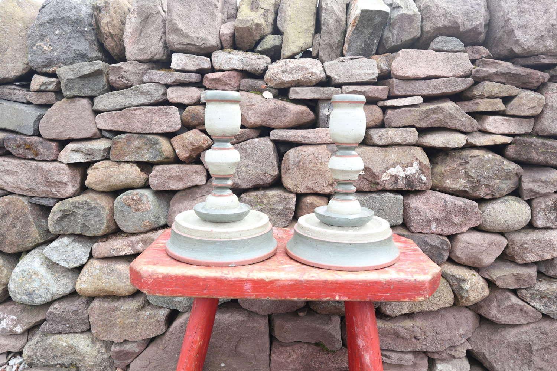 Pair of Swedish 'Folk Art' painted wood candlesticks 20th Century