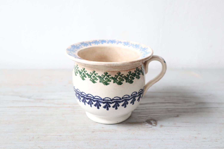 19th Century Scottish Spongeware Pottery Single Handled Porringer