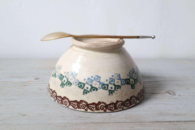 19th Century Scottish Spongeware Bowl & Silver Capped Horn Spoon