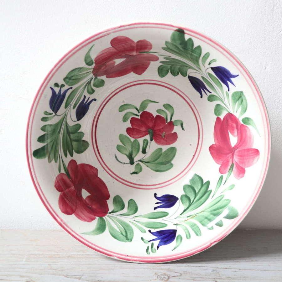 Late 19th Century Scottish Spongeware Pottery Bowl Persian Rose