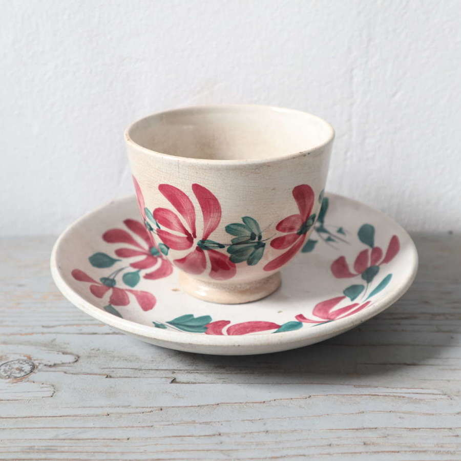 19th Century Floral Decorated Spongeware pottery bowl & dish
