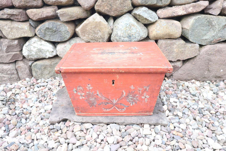 Swedish Folk Art original red painted table box Jämtland region 1804