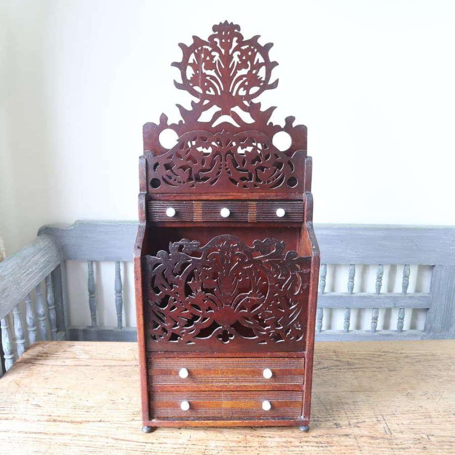 Scottish Vernacular 'Folk Art' thistle fretwork spoon & candle box