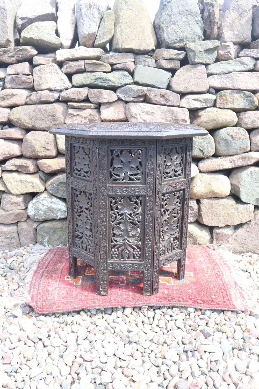 Anglo-Indian / Burmese octagonal hardwood side table c.1890-1915