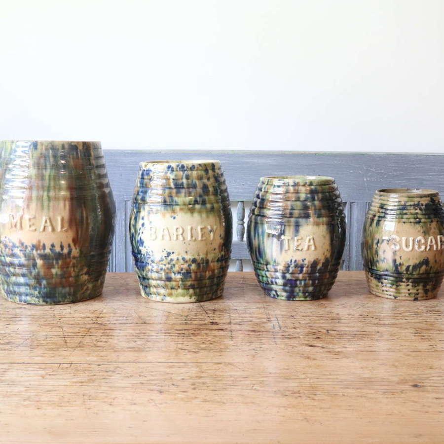 Scottish Pottery Slipware Barrel Storage Jars x4