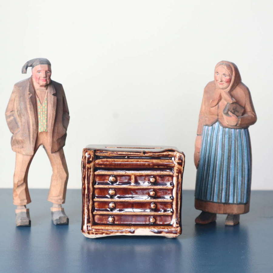 19th Century Scottish treacle glaze penny bank 'chest of drawers'