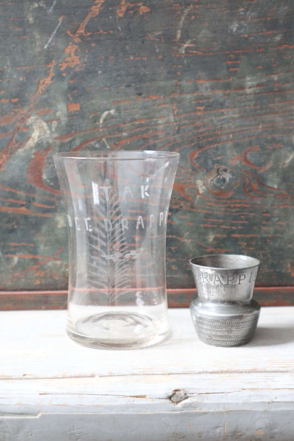 19th Century Scots motto thistle whisky tot & fern etched glass