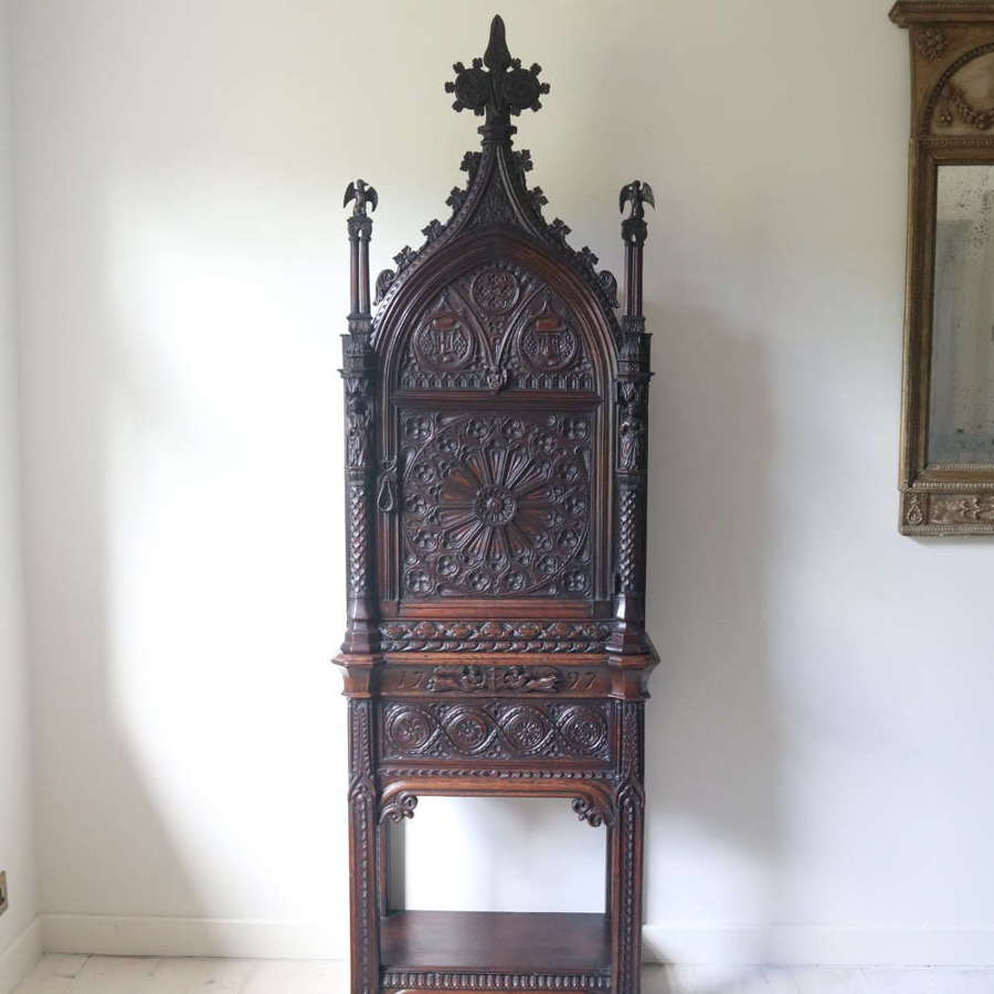 18th Century Gothic revival arch ecclesiastical cabinet on stand 1797
