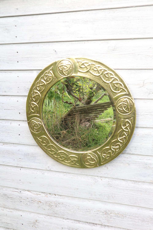 Arts & Crafts Movement Scottish School Circular Wall Mirror c.1900
