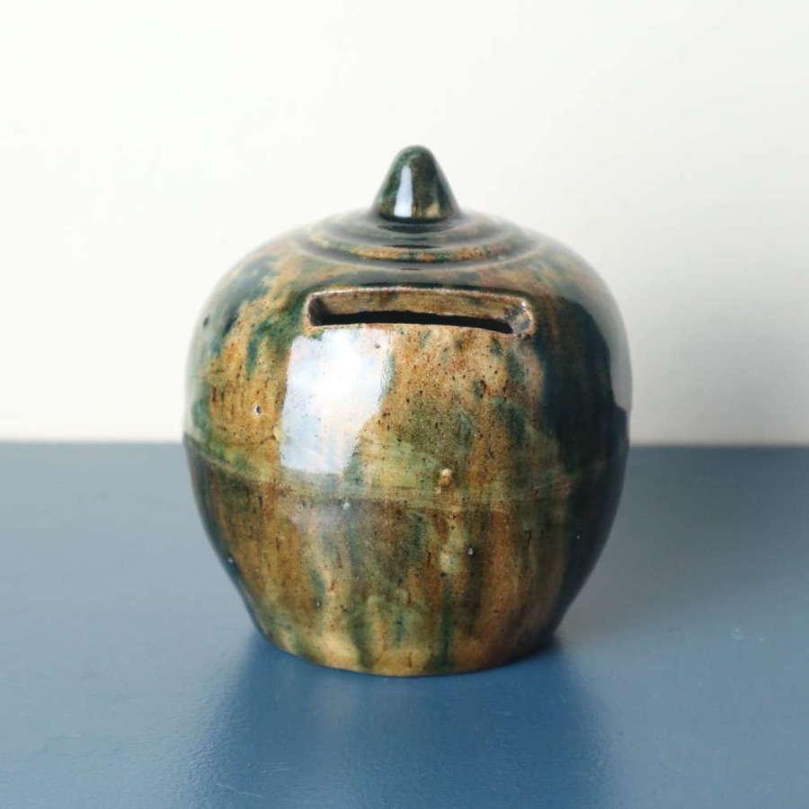 19th Century Scottish Rosslyn Pottery Slip Glazed 'Penny Bank'
