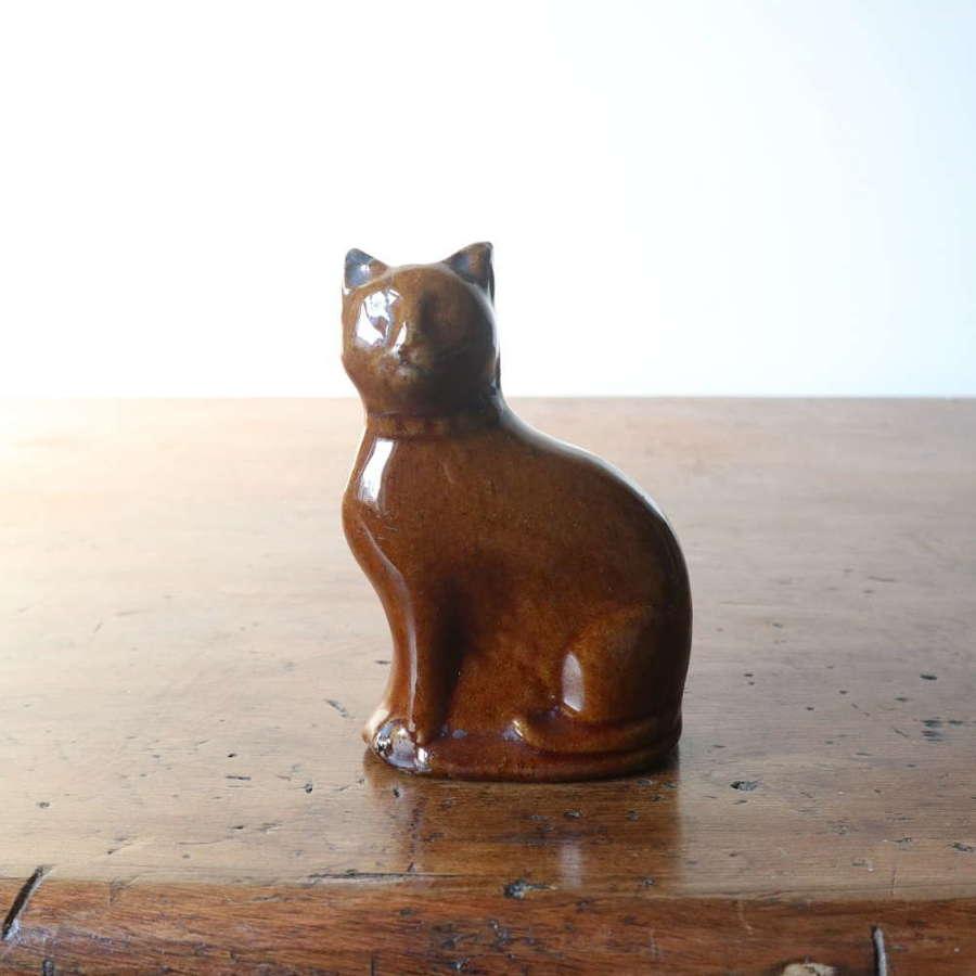 19th Century Scottish Rosslyn pottery glazed cat 'penny bank'