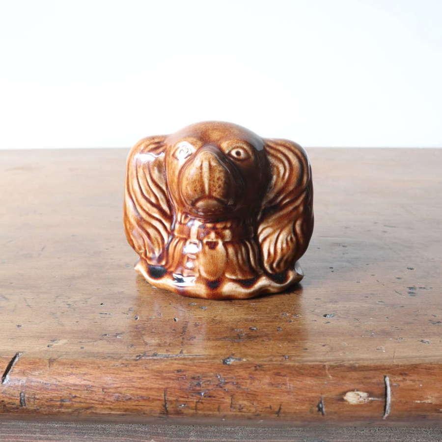 19th Century Scottish Rosslyn pottery glazed spaniel dog 'penny bank'